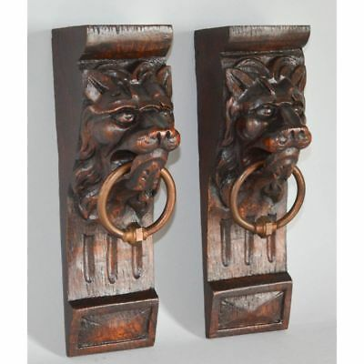Nice Pair of Antique French Carved Oak Salvaged Corbels Lion Heads Bronze Rings