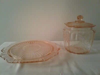 Anchor Hocking Mayfair Open Rose Pink Cookie Jar w/lid & Footed Cake Plate Set