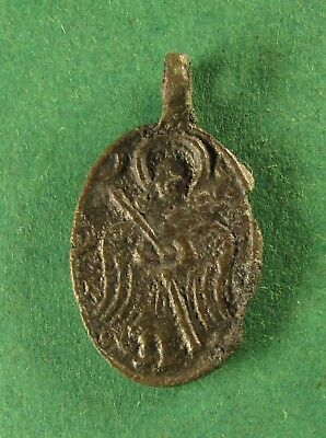 Ancient Rare Bronze Russian Native Icon Prosperous Cross and Angel XV-XVI Cen