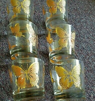 Set Of 6 Vintage Libbey Butterfly Glasses Rock Lowball Orange, Yellow, & Gold