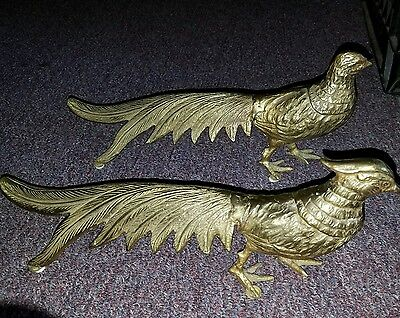 "Two antique vintage Brass Peacock set Heavy brass Statue Figurine 14"" long,"