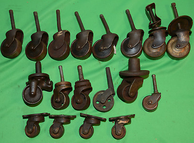 Lot Antique Iron & Brass Furniture Casters Patent: 1800's Swivel / Industrial