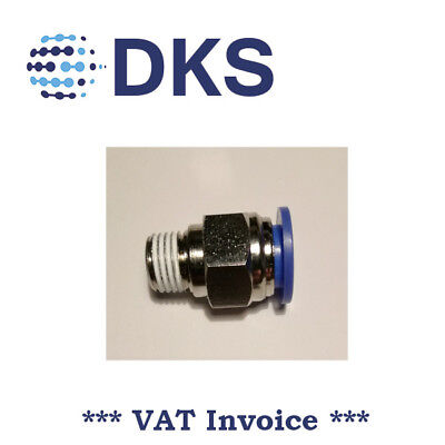 Male Stud Push In Fit Pneumatic Fittings Air 1/4 BSPT to 12mm Fitting  000592
