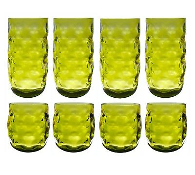 QG 14 & 23 oz Acrylic Plastic Iced Tea Cup Drinking Glass Tumbler Set of 8 Green
