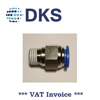 Male Stud Push In Fit Pneumatic Fittings Air 1/4 BSPT to 10mm Fitting  000593