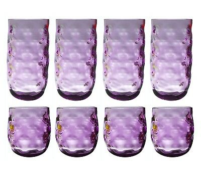 QG 14 & 23 oz Acrylic Plastic Glass Iced Tea Cup Tumbler Set of 8 Purple