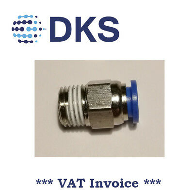 Male Stud Push In Fit Pneumatic Fittings Air 1/4 BSPT to 8mm Fitting  000594