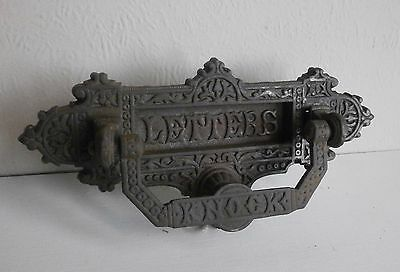 antique victorian cast iron letterbox with knocker