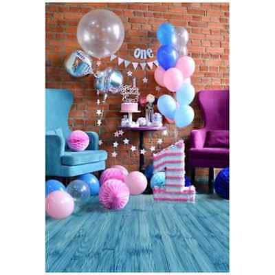 Blue 1st Birthday Baby Photography Backgrounds 3x5ft Vinyl Photo Backdrops N7O7