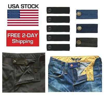8 Pack Elastic Waist Extender Strong Adjustable Pants Jeans Button Easy Fit BEST