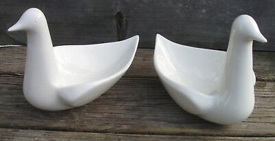 Vtg Ceramic Pair of White DOVES candy Dish&Signed by Artist 1974-79 Made in USA