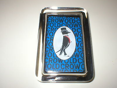 Old Crow Whiskey Bourbon  Advertising Blue Sign Logo Glass Paperweight