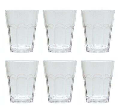 QG 12oz Clear Acrylic Plastic Drinking Rock Glass Tumbler Octangle Base Set of 6