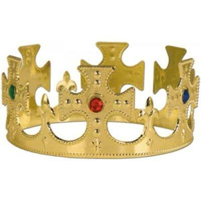 Plastic Gold Kids Crown Hat Regal Majestic King Queen Jeweled Crown Party Prop