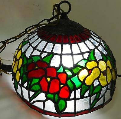 Stained Glass Flowers Leaded Tiffany Style Swag Lamp Shade Red Yellow Flowers