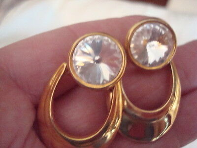 Vintage Gold Toned Door Knocker Style Clip Earrings with Large Rhinestone