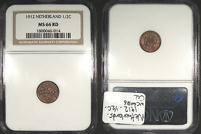 NETHERLANDS: 1912 1/2 Cent NGC MS-66 RD #WC72814