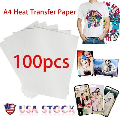 100Pcs A4 Heat Sublimation Transfer T-Shirt Paper For /Light Fabric MAX