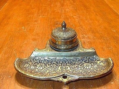 Antique Jenning's Brothers Ornate Brass Inkwell Signed JB 2485