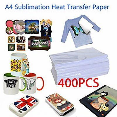 400X sheet Sublimation Heat Transfer Paper for Light Colors Mug Cup T- Shirt A4