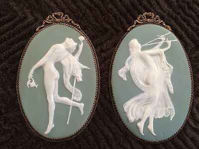 Antique Pair Of Green Jasperware Plaques Limoges-France ( Wedgewood Style )