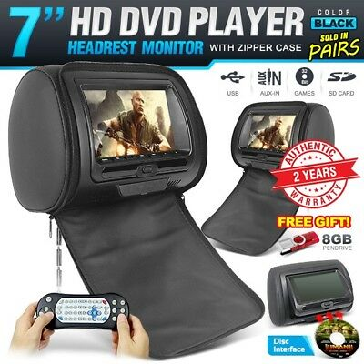 """Pair 7"""" Headrest Monitor Black Leather built-in DVD Player USB SD 32bit CD Games"""