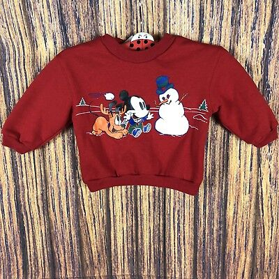 Vintage Nwt Baby Mickey Snowman Sweater 18 Months Red Sweat Shirt Pluto