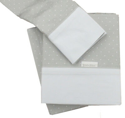 KIDZ KISS Petit Dots Premium Cotton 3 Piece Cot Sheet Set [Grey]