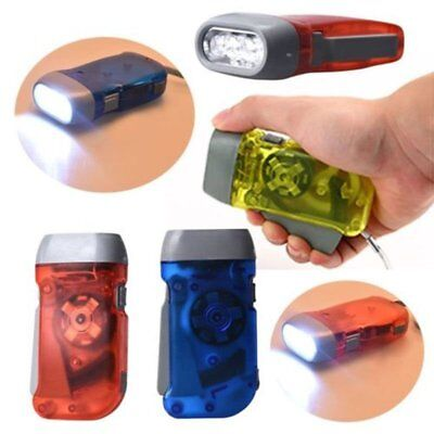 Hiking Powered Dynamo Light Crank Blue LED Flashlight Torch Hand Pressing