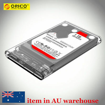 "ORICO Transparent 2.5"" USB 3.0 SATA SSD Hard Drive External Case HDD Enclosure"