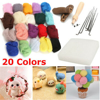 20 Colour DIY Wool Needles Felt Tool Set + Needle Felting Mat Starter Kit BK
