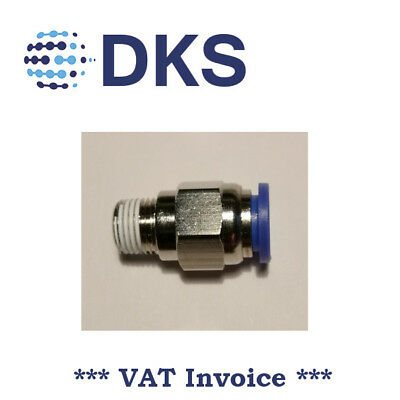Male Stud Push In Fit Pneumatic Fittings Air 1/8 BSPT to 8mm Fitting 000598