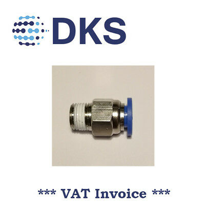 Male Stud Push In Fit Pneumatic Fittings Air 1/8 BSPT to 6mm Fitting 000599