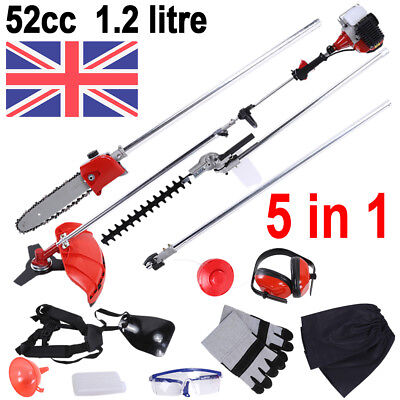 5 in 1 Garden Hedge Trimmer Petrol Strimmer Chainsaw Brushcutter Tool 1.2 litre