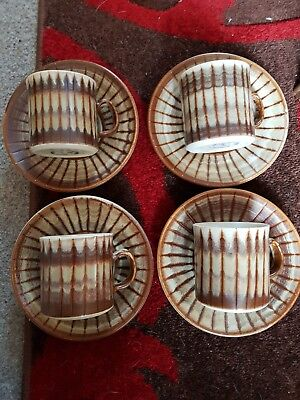 Beautiful Vintage Rye Pottery Cups and Saucers