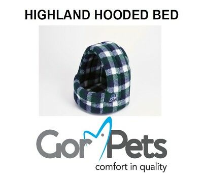 Gor Pets Highland Hooded Cat Dog Pet Bed Igloo Cave Spring Check Small Medium