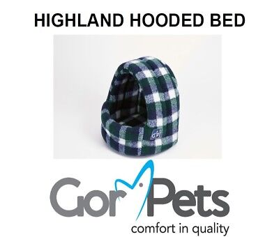 New - Gor Pets - Highland Hooded Bed - Spring Check - Cat Small Dog Pet Bed