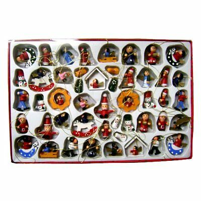 Christmas Ornaments Wooden Miniature 48 Pieces NEW