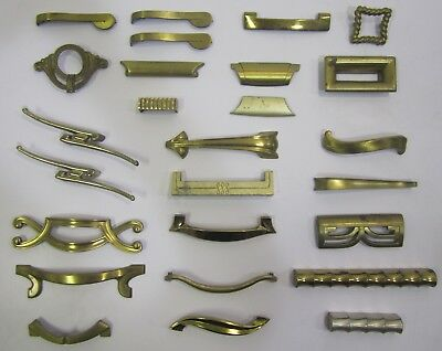 Lot of 26 Assorted Vtg MCM Brass Gold Tone Drawer Pulls For Restore Arts Crafts