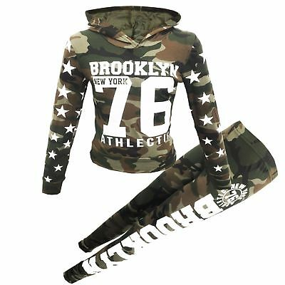 """New Girls Hooded camaflage """"Brooklyn 76 Athlectic"""" Tracksuit Top Bottom Jogging"""