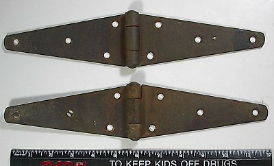 "Vintage Pair 2 Barn Door Gate 12"" STRAP HINGES Rustic Rusty Garden Art Decor"