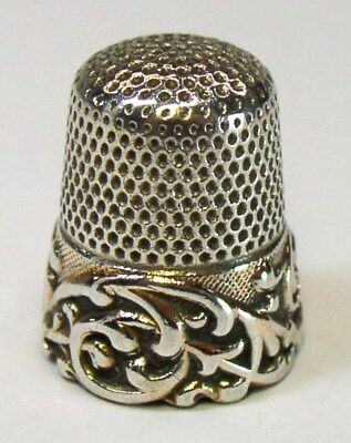 Antique Ketcham & McDougall Gold Band Sterling Silver Thimble  Embossed Scroll