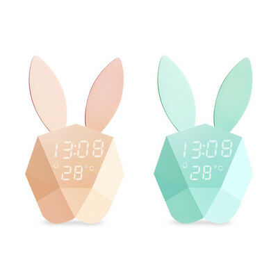 Lovely Night Light Wall Digital Alarm Clock Cute LED Clocks Rabbit Bunny Sound