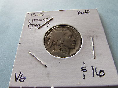 1913 D Type I Buffalo Nickel Mound Variety Denver Mint 5 Cent Bison Coin