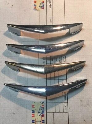 4 Vintage MCM ATOMIC EAMES CHROME Plated CHEVRON BOOMERANG Drawer PULLS AJAX