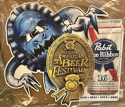 """PBR- PABST BLUE RIBBON BEER 18"""" X 24"""" EMBOSSED METAL SIGN NEW Man Cave Home Bar"""