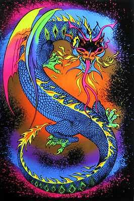 DRAGON 23x35 BLACK LIGHT POSTER MAGIC AMAZING COLORS SALE BRAND NEW HIPPIE GOT!!