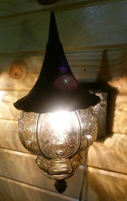 Nos Vintage Witches Hat Sconce Storybook Porch Light Outdoor Ornate Tinted Glass