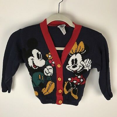 VTG 90's Walt Disney Small 4 Toddler Mickey Minnie Mouse Cardigan Sweater Navy