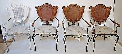 Impressive Vintage Wood Iron and Cane French Shield Back Arm Chairs set of four